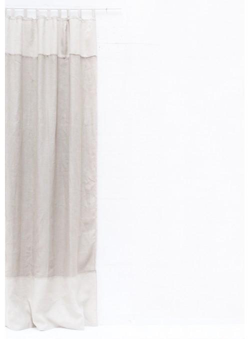 Tenda in lino due colori con passanti - Doppia rete