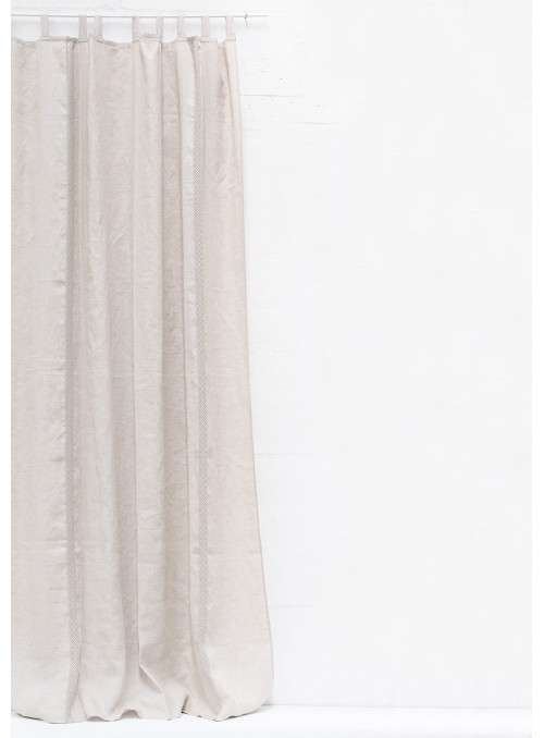 Courtain in pure linen with decoration - Inserto