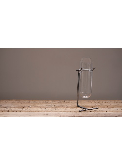 Vaso in vetro e ferro lavorato - Kanji