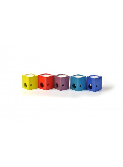 Dice shaped candle holder