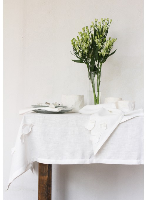 Tablecloth in pure linen with decoration, two measures - Garza