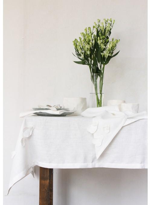 Tovaglia in lino con decorazione in due misure - Bucaneve