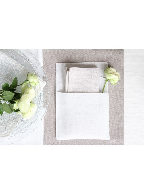 Napkin holder in linen gauze