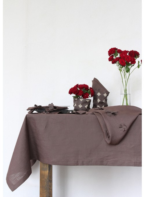Tablecloth in pure linen with decoration, two measures - Cosmos
