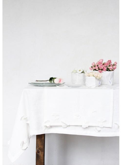 Tablecloth in pure linen with decoration, two measures - Fiori di lino