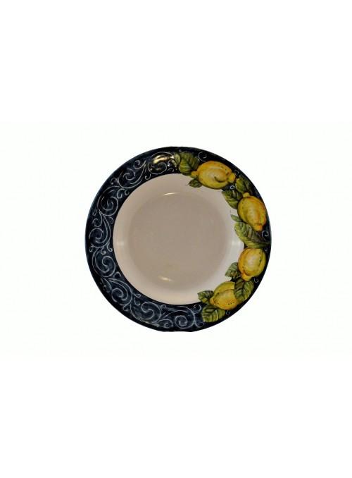 Piatto fondo in ceramica decorata