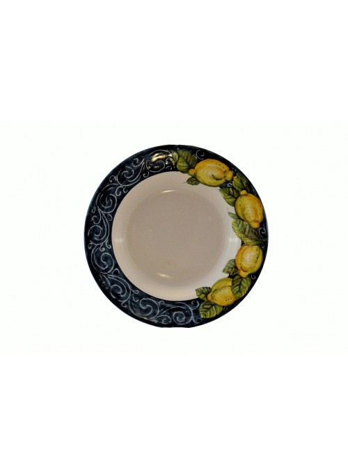 Ceramic soup plate with decoration