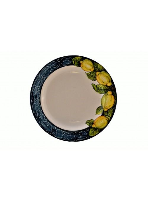 Piatto piano in ceramica decorata
