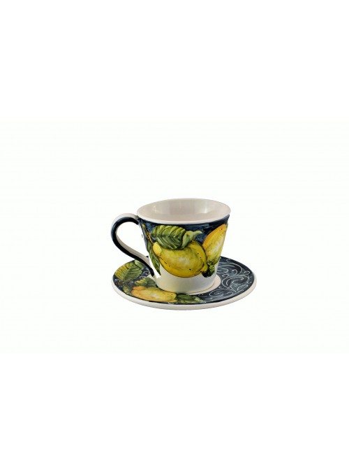 Ceramic cappuccino cup with decoration