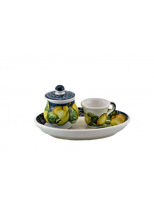 Set da caffè in ceramica decorata