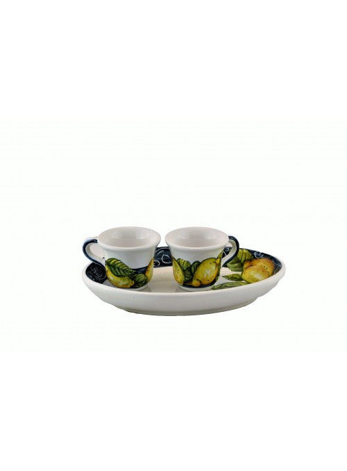 Set da caffè in ceramica decorata