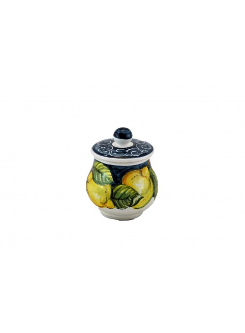Ceramic sugar bowl with decoration