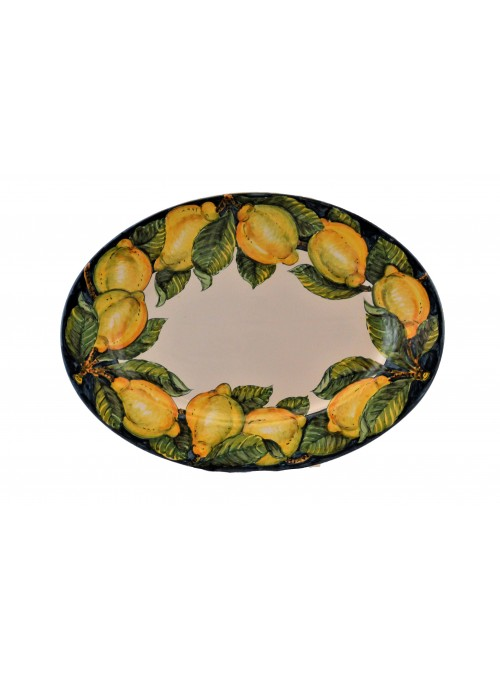 Ceramic oval tray with decoration