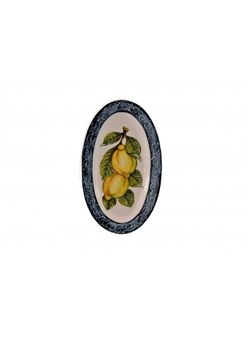 Ceramic oval plate with decoration