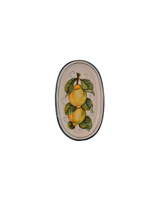 Small ceramic oval plate with decoration