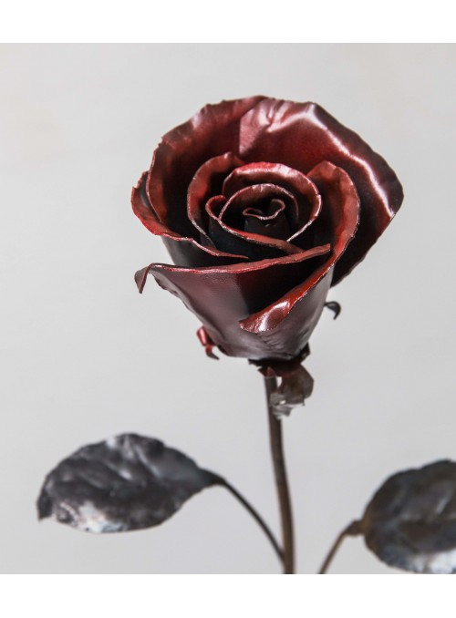Wrought iron red rose