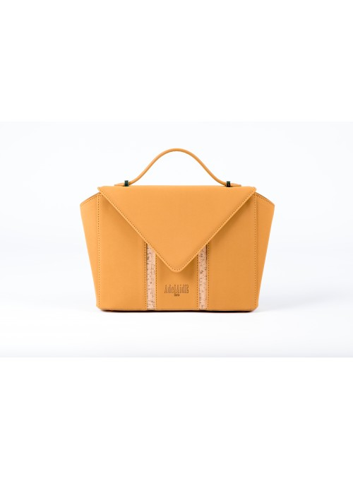 Small bag in faux leather, rubber and cork - Bighty Mustard
