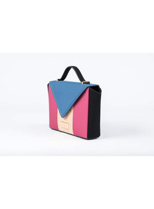Small bag in nabuk, gum and cork - Bighty blue