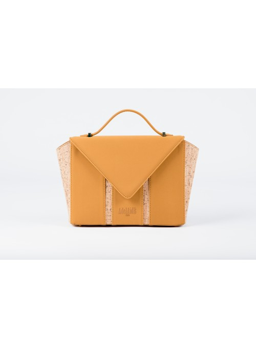 Small bag in nabuck and cork - Bighty mustard