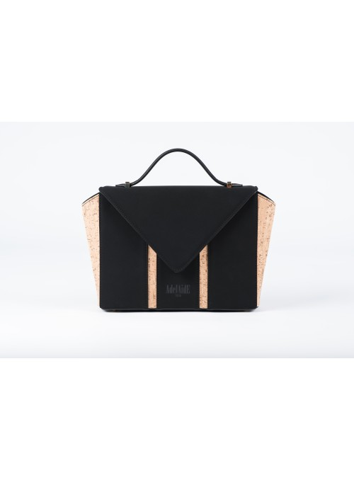 Borsetta in nabuck e sughero - Bighty Black & Cork
