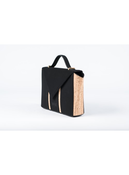 Small bag in nabuck and cork - Bighty Black & Cork