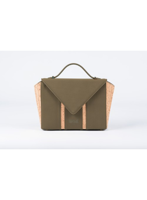 Small bag in nabuck and cork - Bighty Military Green and Cork