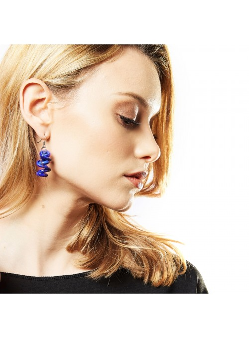 Pendant earrings in Murano glass - Infinity