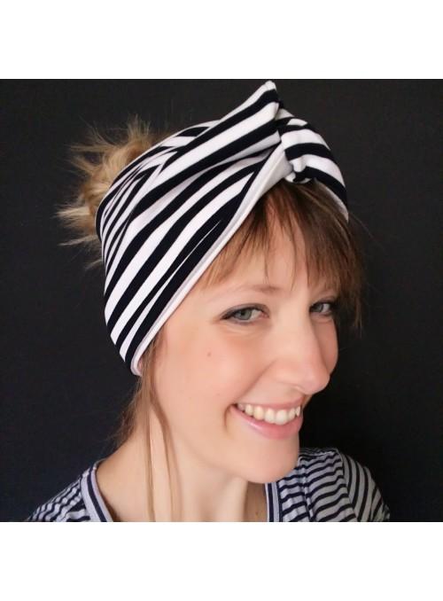 Fascia turbante a righe bianche e nere
