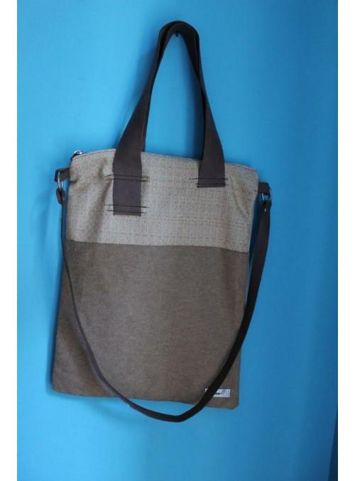 Handbag with two leather handles