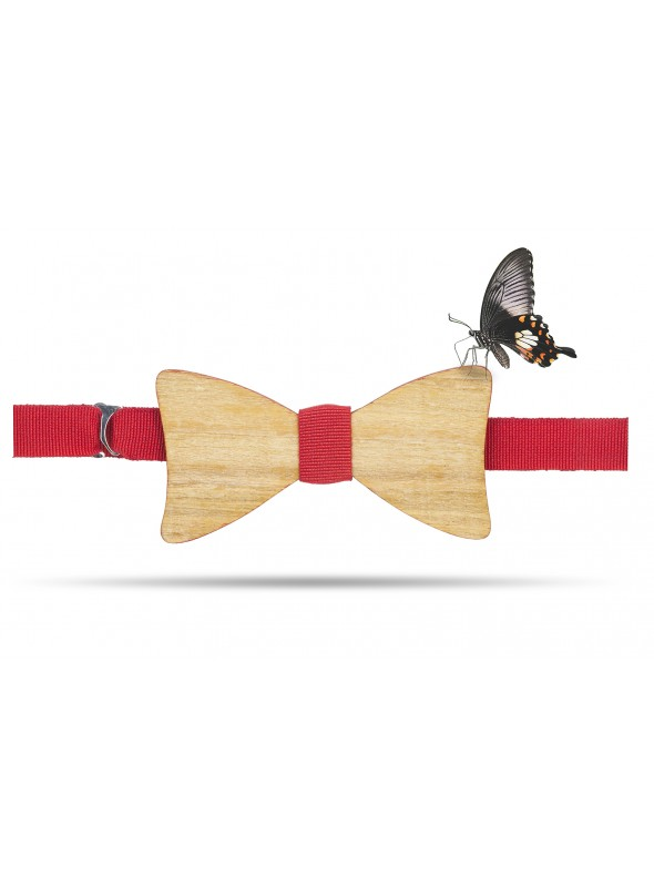 Wooden papillon with gros grain strap
