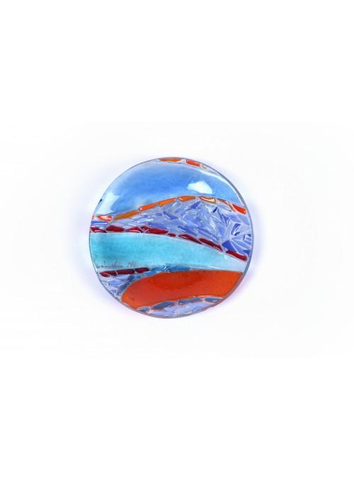 Piattino tondo in vetro fusione - Mosaico