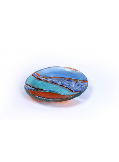 Colorful rounded small plate in fusion glass - Mosaico