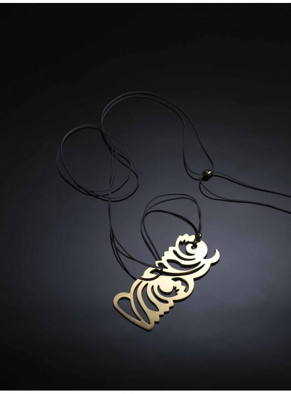 Brass and gold pendant - Piuma