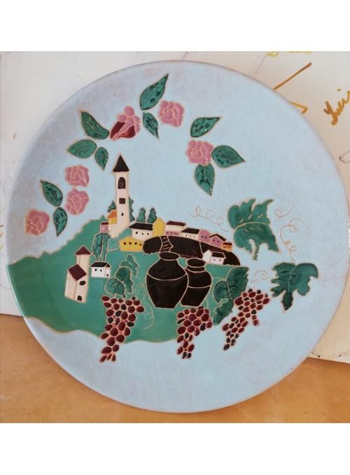 Earthenware painted decorative plate - Il Borgo