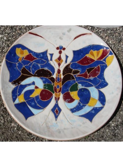 Earthenware painted decorative plate - Farfalla di G. Balla