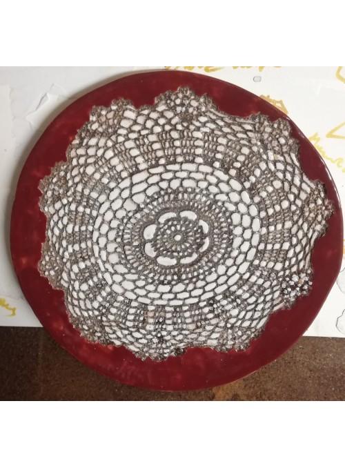 Earthenware decorative plate - Centrino Shabby Bordeaux