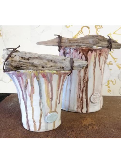 Two earthenware vases set - Legno di mare
