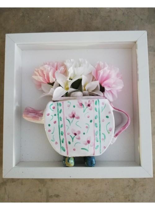 Decorative earthenware teapot