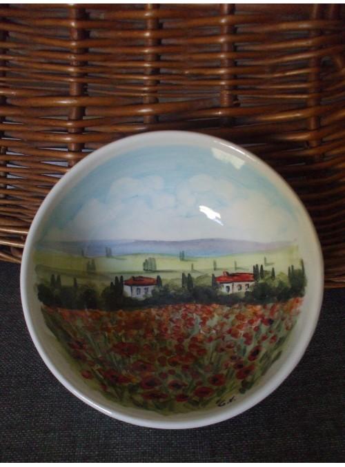 Ciotolina in ceramica - Bolo paesaggio toscano