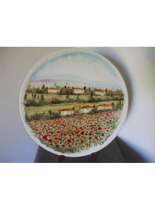 Piatto in ceramica - Paesaggio toscano