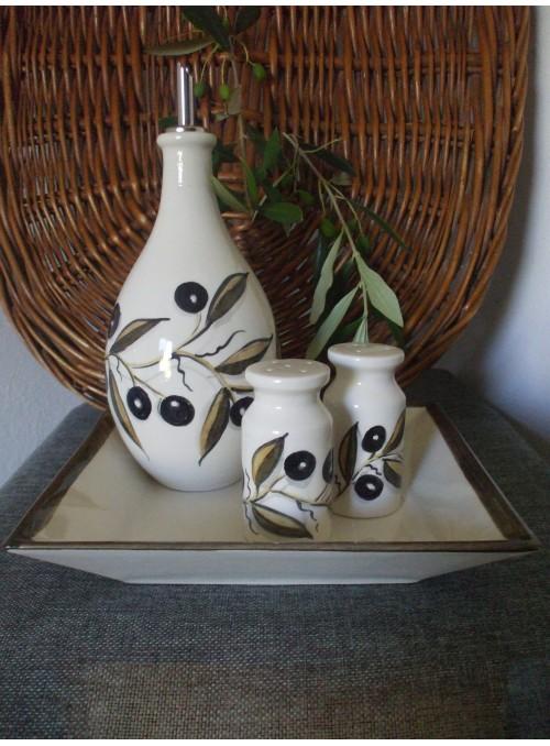 Ceramic menage for seasoning - Olivo