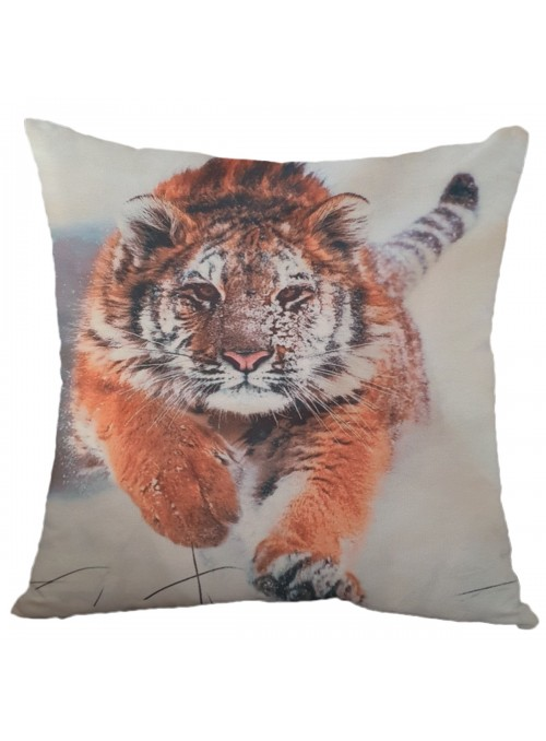 Squared cushion with a tiger - Tigre che corre