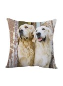 Squared cushion with two dogs - Labrador