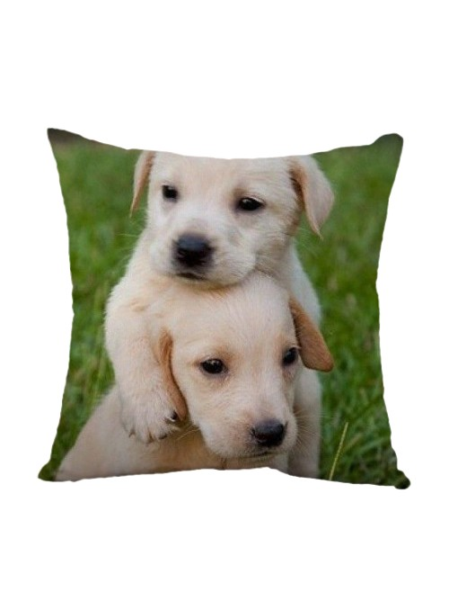 Squared cushion with two puppy dogs - Cagnolini bianchi