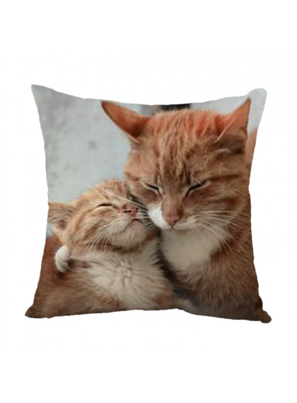 Squared cusion with a cat family - Famiglia felina