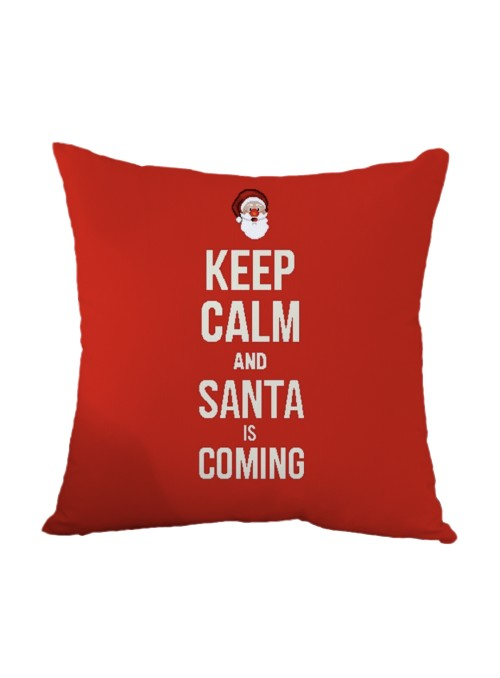 Squared stuffed cushion - Santa is coming