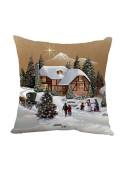 Cuscino bombato quadrato - Paesaggio Natale