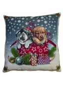 Cuscino bombato quadrato - Cagnolini natalizi