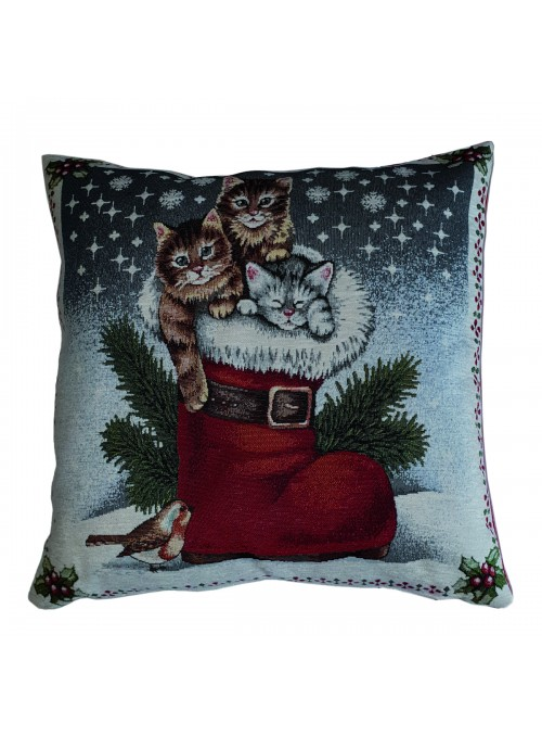 Squared stuffed cushion - Gattini natalizi