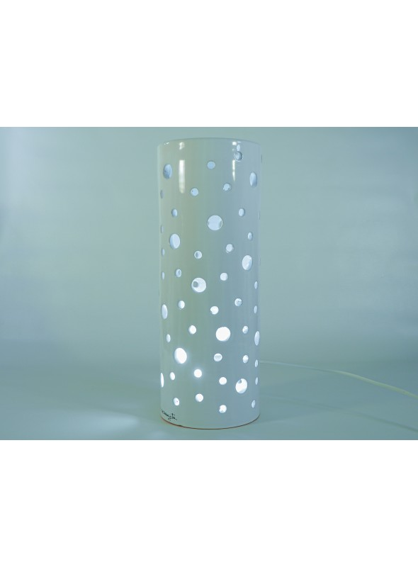 Cylindrical ceramic lamp - Polkadots